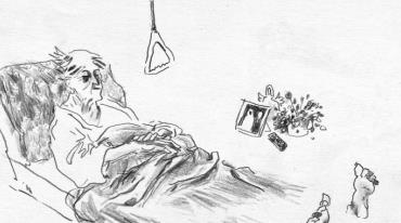 A slightly abstract cartoon-style drawing with a light background shows an old woman lying in bed. There are other items drawn in the same style around her – a flowerpot, a framed photograph, and a television remote control.